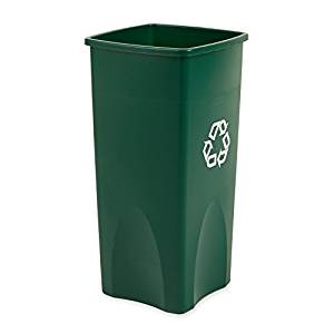 Rubbermaid Commercial FG356907GRN Square 23-Gallon Untouchable Recycling Container, Green by Rubbermaid Commercial Products