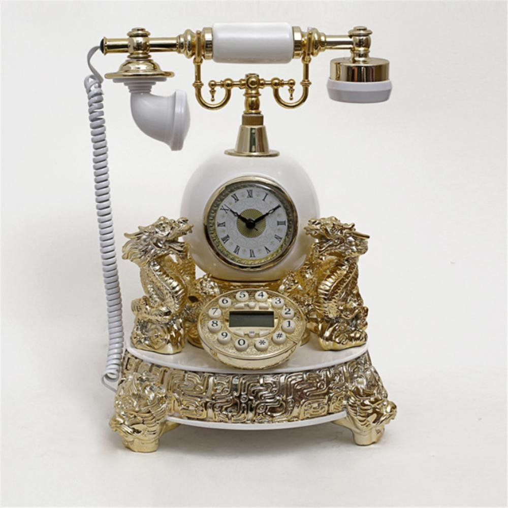 Continental Clock Creative Landline Vintage Antique Style Push Button Dial Desk Telephone Phone Villa Home Living Room Office Decor Creative Gifts , yellow