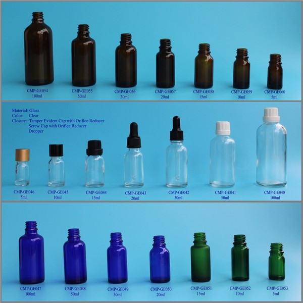 High Quality 5ml 10ml 15ml 20ml 30ml 50ml 100ml glass dropper Essential Oil Bottle