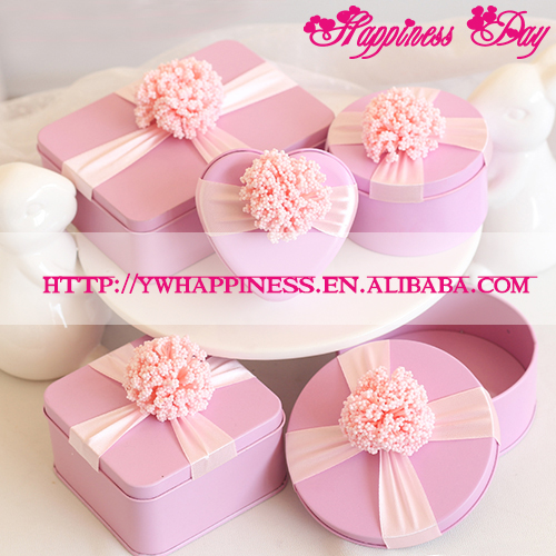 Pink Wedding Round Favor Boxes Metal Candy Tin Box with Flower Decoration Bridal & Baby Shower Supplies