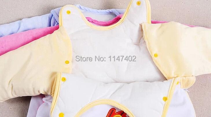 Бесплатная доставка мешки с рукавами ребенка спальный мешок 80 см рукава-съемная двойной Zipper100 % хлопок сон мешок