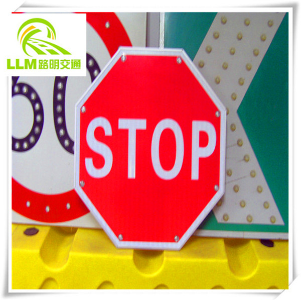 Free shipping seamless aluminum LED flashing solar stop safety sign board/ road