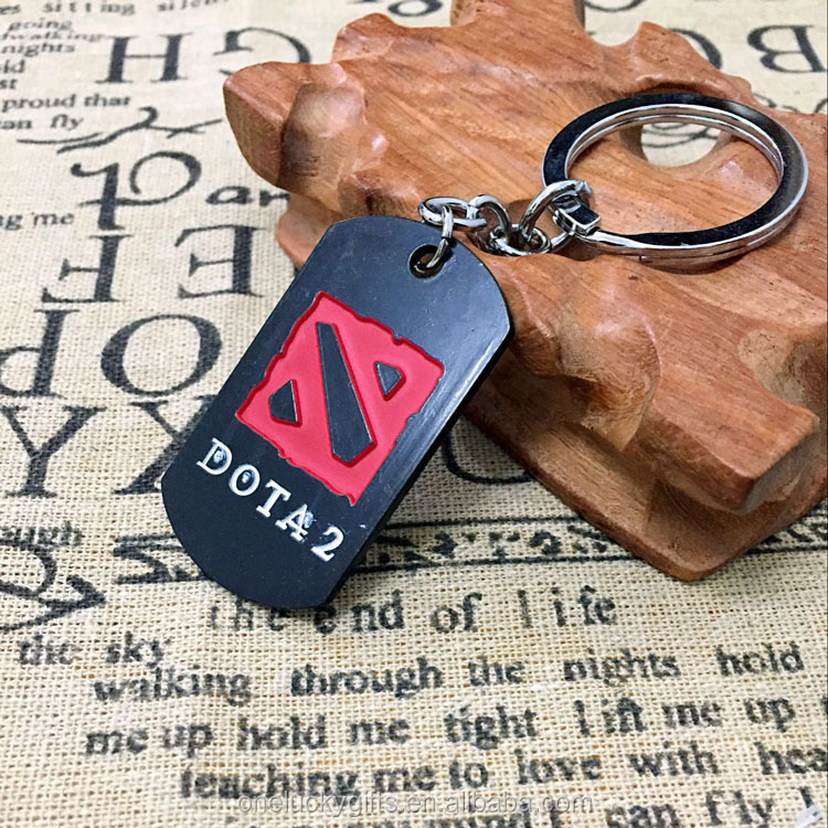 Metallic dota 2 games antique color keychain for retails