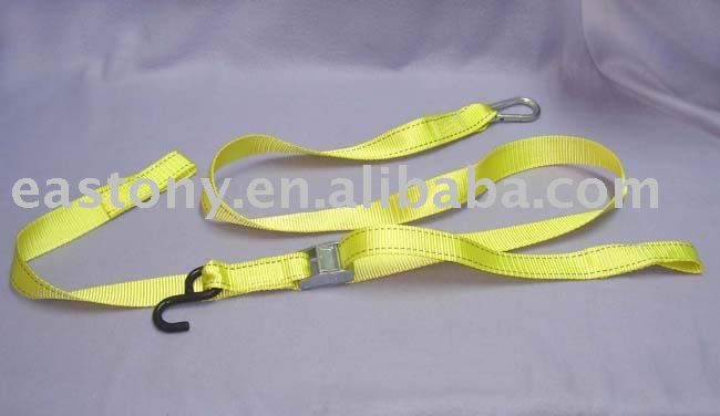 motorcycle tie down with cam buckle and hook tie down webbing set