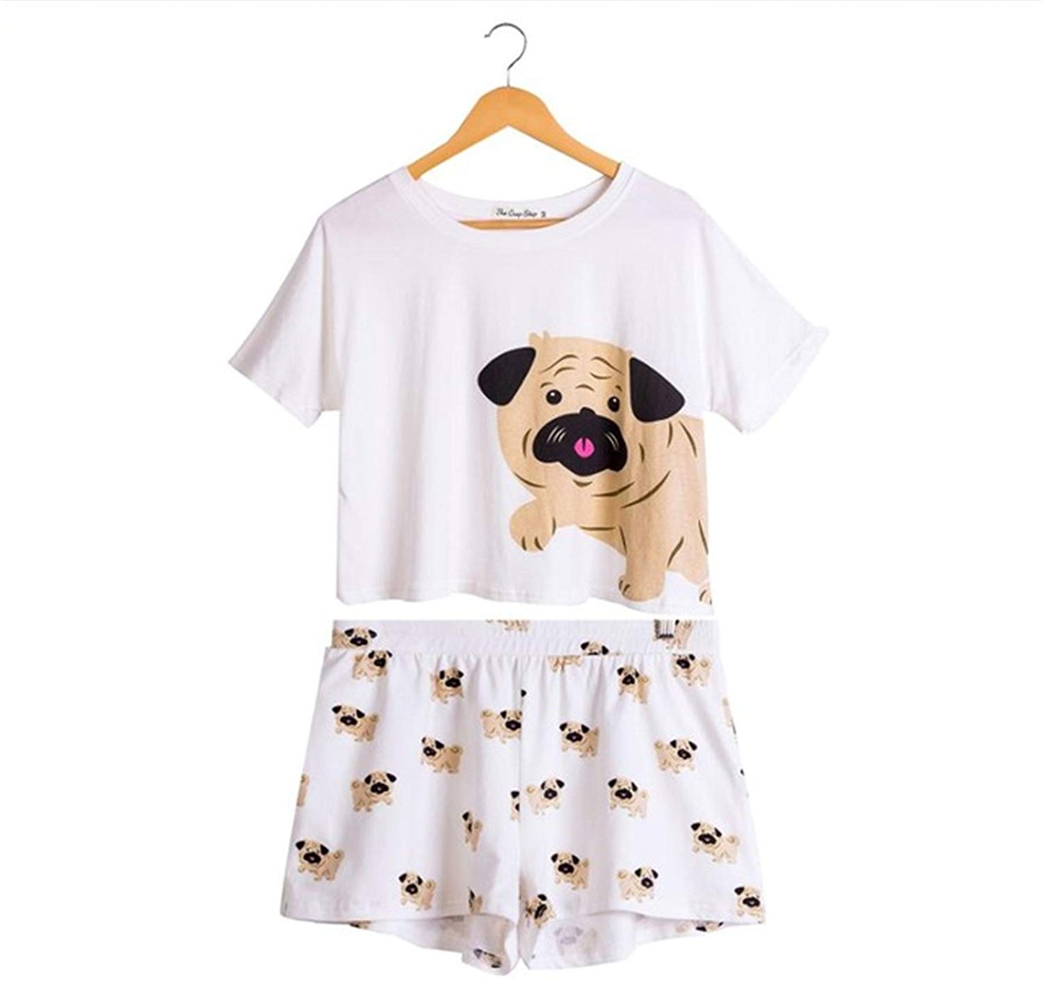 ce9b45bdf4 Get Quotations · Cute Dog Pajama Set Women Pug Print 2 Pieces Set Crop Top  + Shorts Elastic Waist