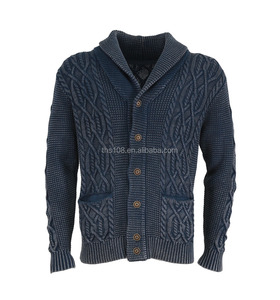 MEN'S VINTAGE KNITTED CARDIGAN IN MIX CABLE AND STONE WASH IN HEAVY GAUGE