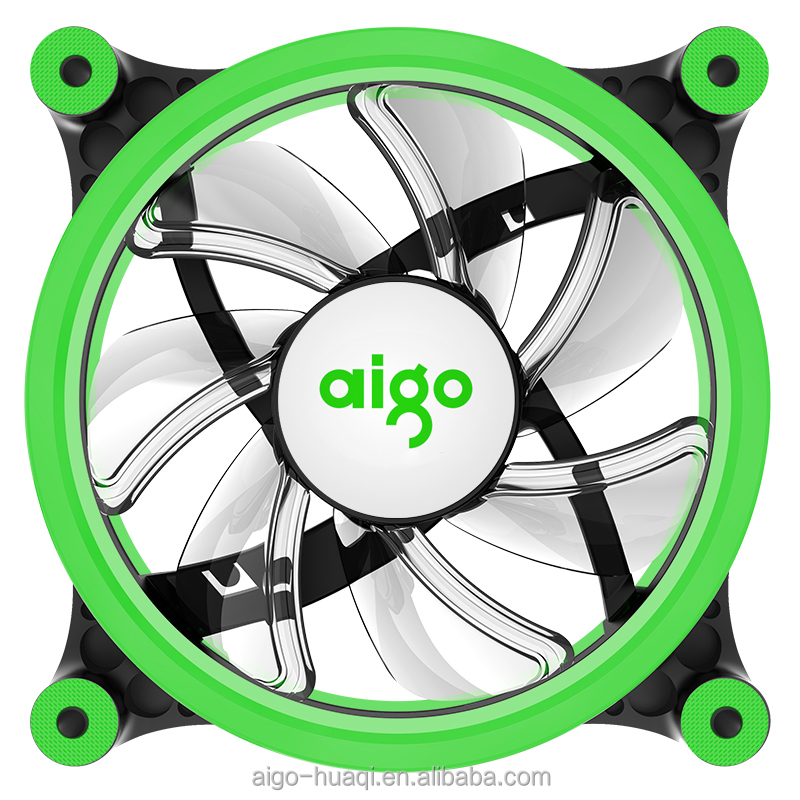 aigo Z6 computer case LED Fan Green PC cooling fan 120mm 12CM low noise pc fans