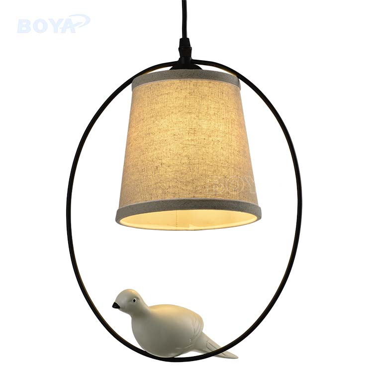 Factory OEM country style white fabric restaurant pendant light