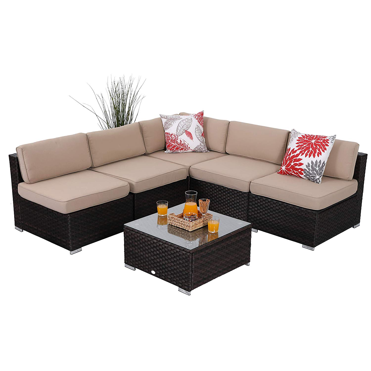 dff76c866798 Get Quotations · PHI VILLA 6-Piece Outdoor Furniture Set Rattan Sectional  Sofa Conversation Set with Glass Table