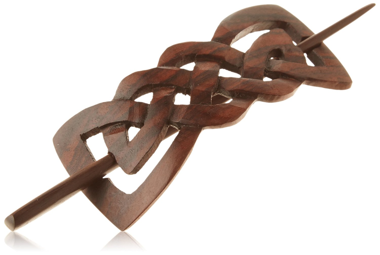 """Evolatree Natural Hair Barrettes for Women and Men - Handmade Wood Barrette Hair Pin - Celtic Bow Tie - 4"""""""