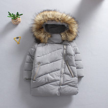 Latest Design Children Girls Winter Clothes Hooded Long Trench Kids Down Coat