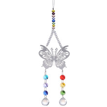 2PC Butterfly Metal Hanging Pendants Chandelier Part Clear 20mm Glass Crystal Prism Ball Suncatcher Christmas Wedding Decoration