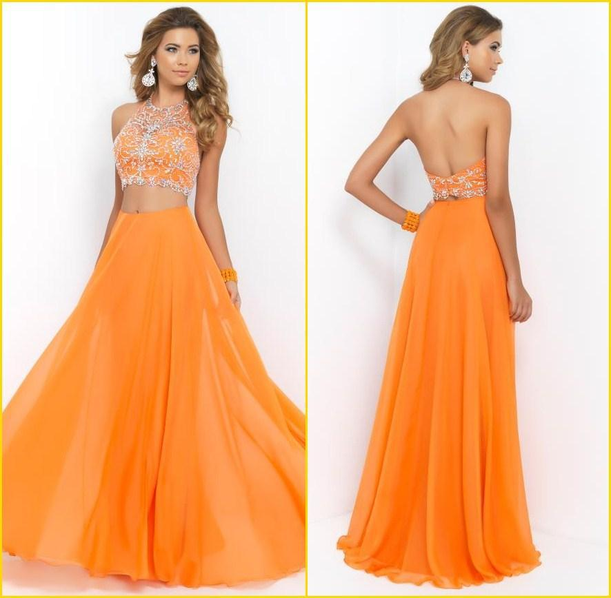 New Fashion Two Piece Orange Beaded Top Long Prom Dresses