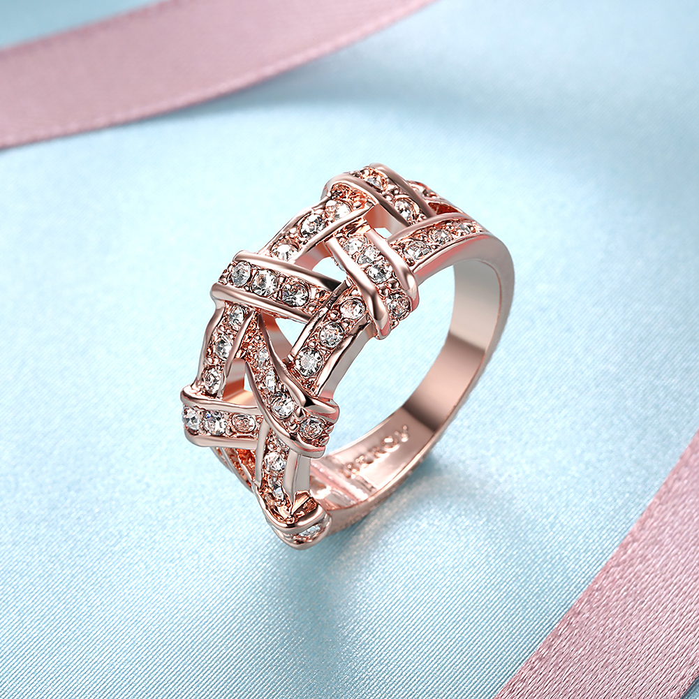 Fashion Women Crystal Jewelry Plated Rose Gold Rings Australia Crystal Ring