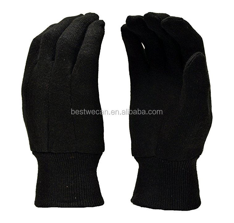 Adult Cotton Black Jersey Glove with Foam lined and PVC dot