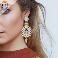 ELX-00013 New Model 2018 long jewelry ladies fashion luxury acrylic alloy plastic opal earring stud gold plated findings
