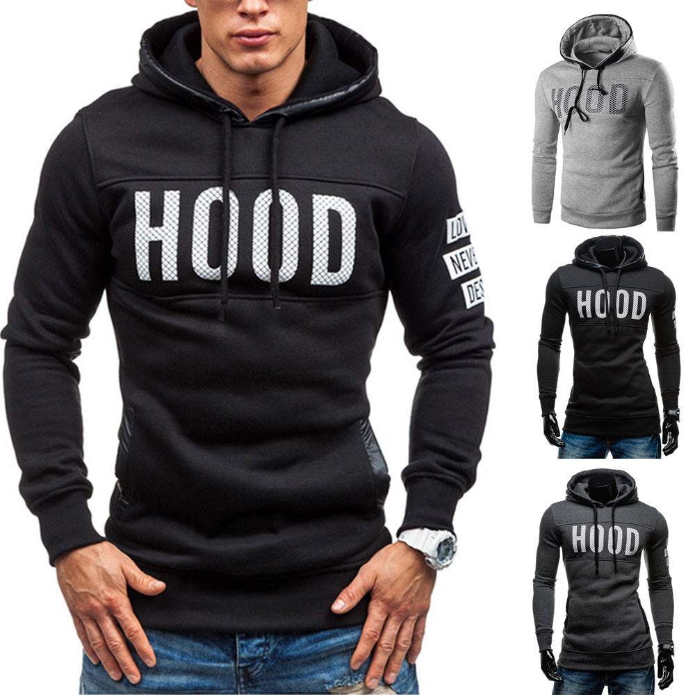 b3220e99 2019 Men Hoodies Brand Long Sleeve Hooded Hoodie Solid Color Letter ...