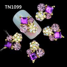 10 Pcs 3D Nail Art Decorations Gold Alloy Diy Glitter Geometric Charm Purple AB Rhinestone Tools