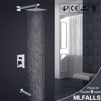 Whole sale square top head 2 functions chrome finished concealed wall mount shower faucet set