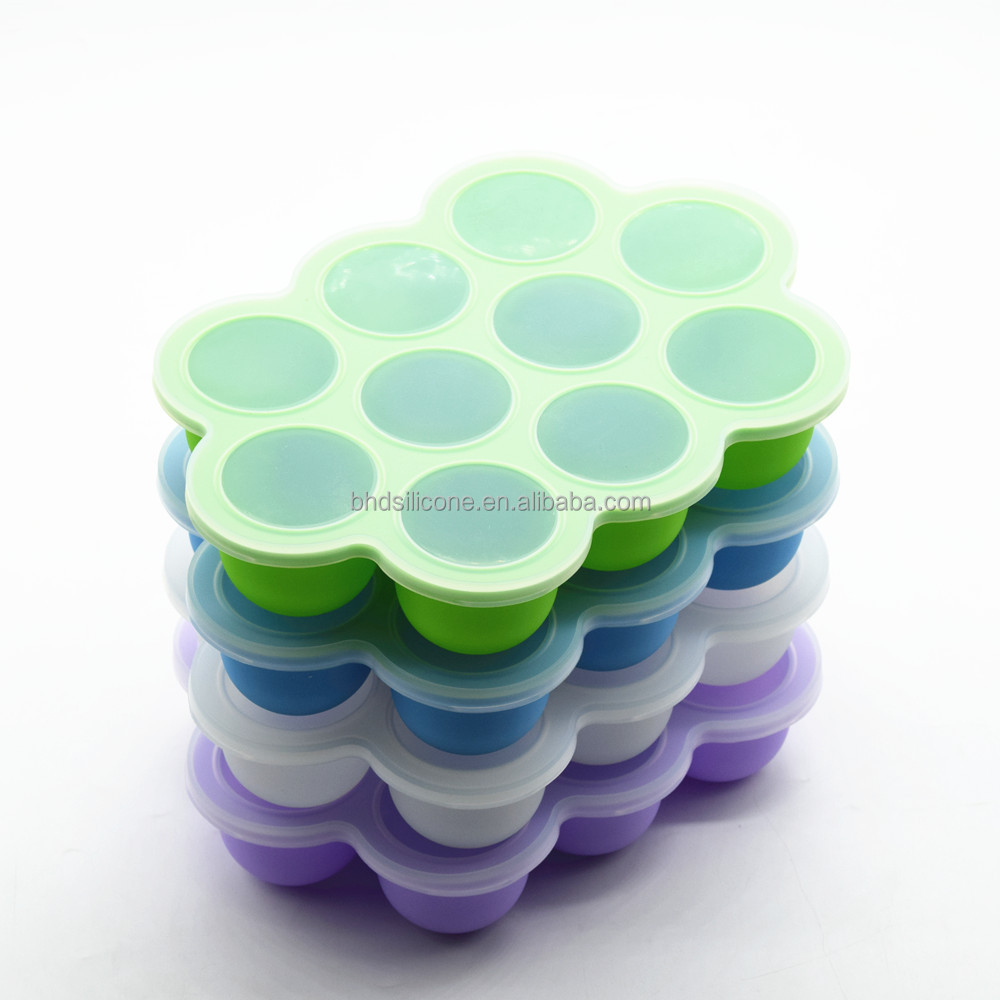 Reusable Silicone Frozen Mould With Lid Ice Cube Tray,Flexible Baby Food Storage Freezer Container