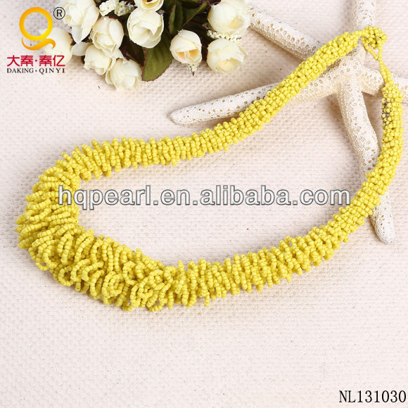 fashion jewelry 2014 yellow seed beads necklace