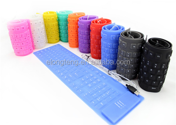 Foldable Flexible 109 keys mini USB Silicon Keyboard