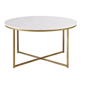 Gold metal X-base round fake marble top coffee tables