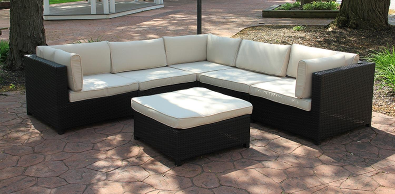 Cc Outdoor Living Black Resin Wicker Furniture Sectional Sofa Set Beige Cushions