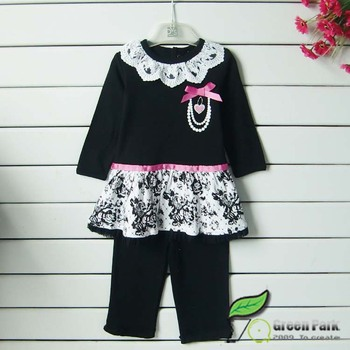 Cute Black White Flower Dress+leggings Clothing Sets Baby Outfits ...