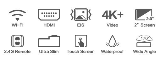 Original EKEN H5s Plus Action Camera Waterproof Ultra HD 4K 30fps EIS Sports Camera 12MP Photo 170 Degree Wide Angle WiFi