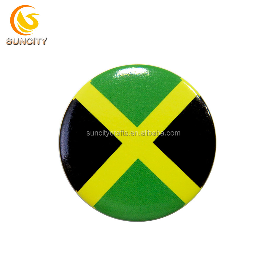 PromotionalJamaica flag design Tin Button Badge with safety pin