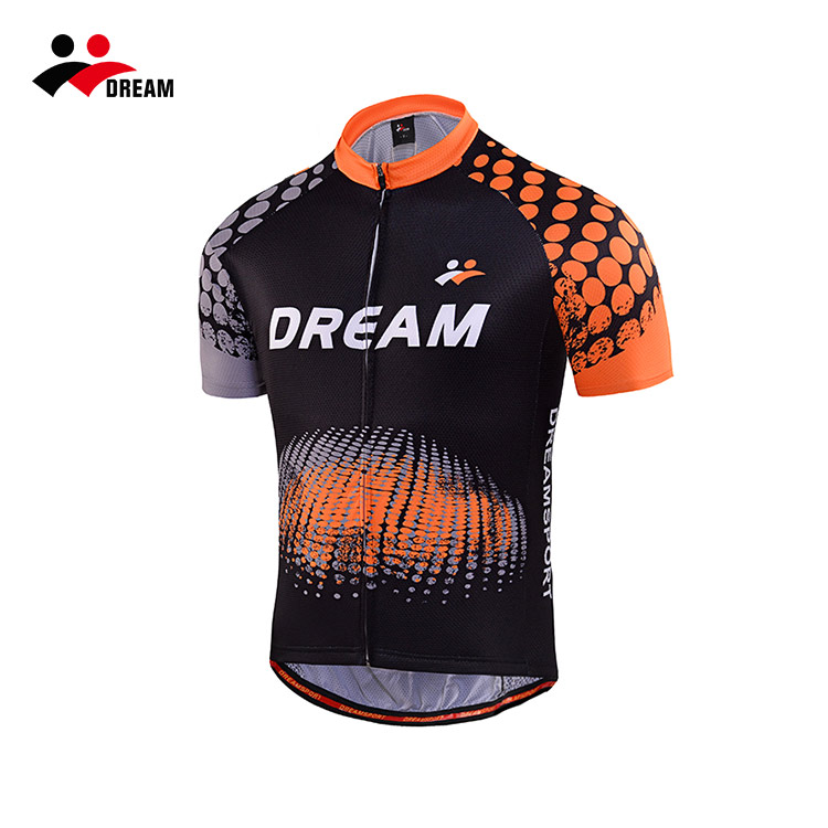 Dream Sport orange men cycling jersey with short sleeves