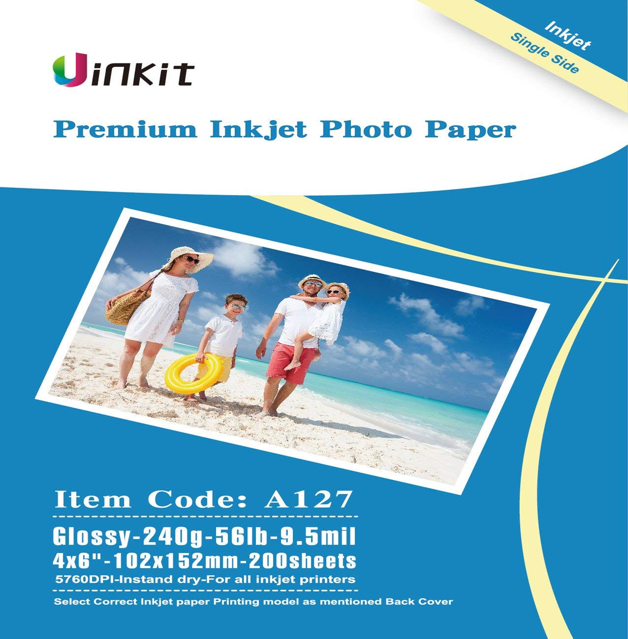 100 Sheets of 4x6 170gsm High-Quality Glossy Photo Paper for Inkjet Printers