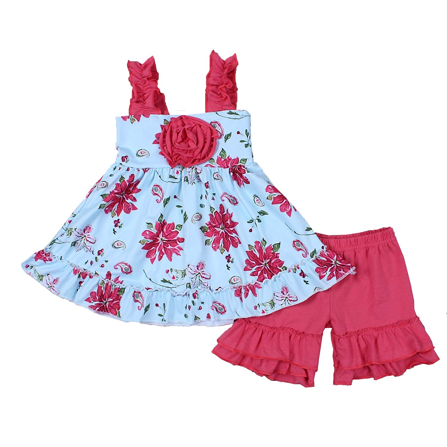 8ddd686e91 Get Quotations · Yawoo Haan Toddler Girls Flower Boutique Outfits Baby 2PCS Ruffle  Clothes Set