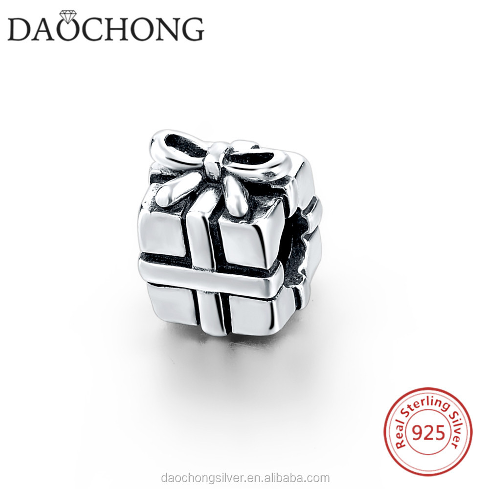 Fashion design 925 sterling silver gift box beads charm