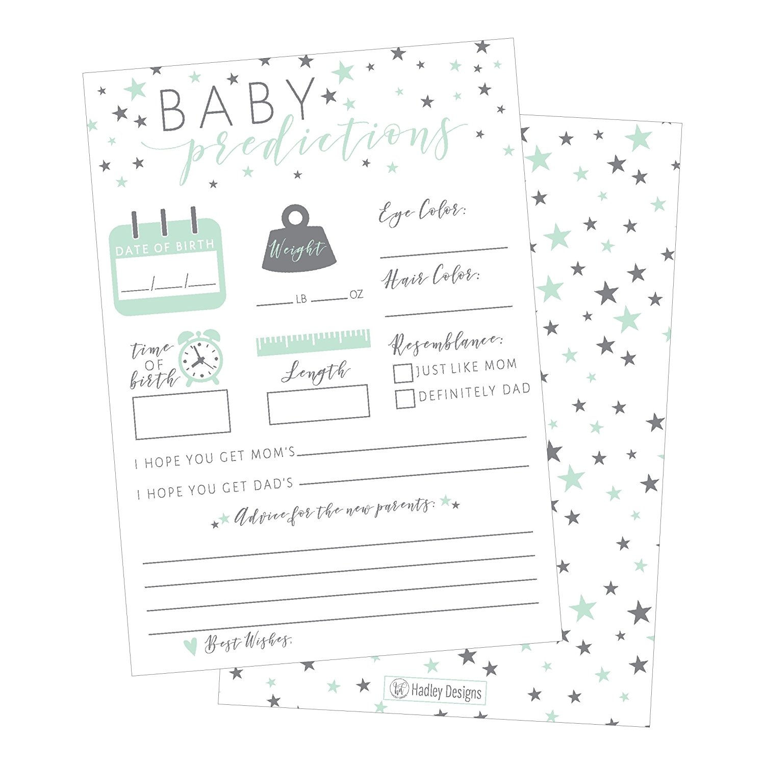 50 Mint Stars Advice And Prediction Cards For Baby Shower Game New Mom Dad Card Or Mommy Daddy To Be Girl Boy Babies Parent Message