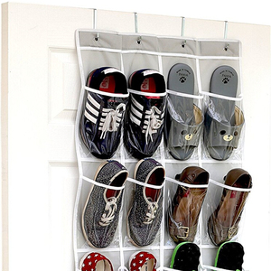 Unique 24 Pockets -Crystal Clear Over the Door Hanging Shoe Organizer