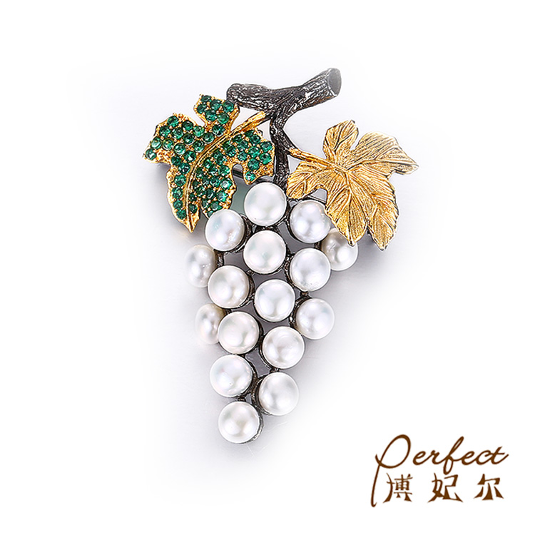 Wholesale Grape Design Fashion 925 Sterling Silver Button Pearl Brooch Jewelry