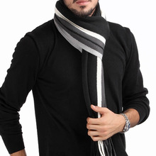 1pc High Quality Fashion Cotton Men's Scarf Shawl Wrap,Casual Warm Stripe Cashmere Knitting Man business Scarf Suit