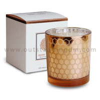 high quality custom scent Wholesale rose gold Hollow out glass Candle holder