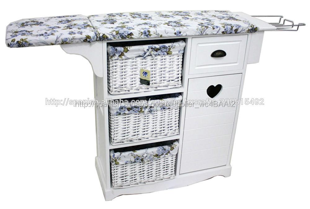 Mueble de plancha madera lac blanco 4 cajones simil piel - Mueble plancha plegable ...