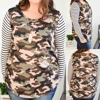 Fat ladies clothes Long Stripe Sleeve Camouflage Top With Polyester rayon spandex fabric