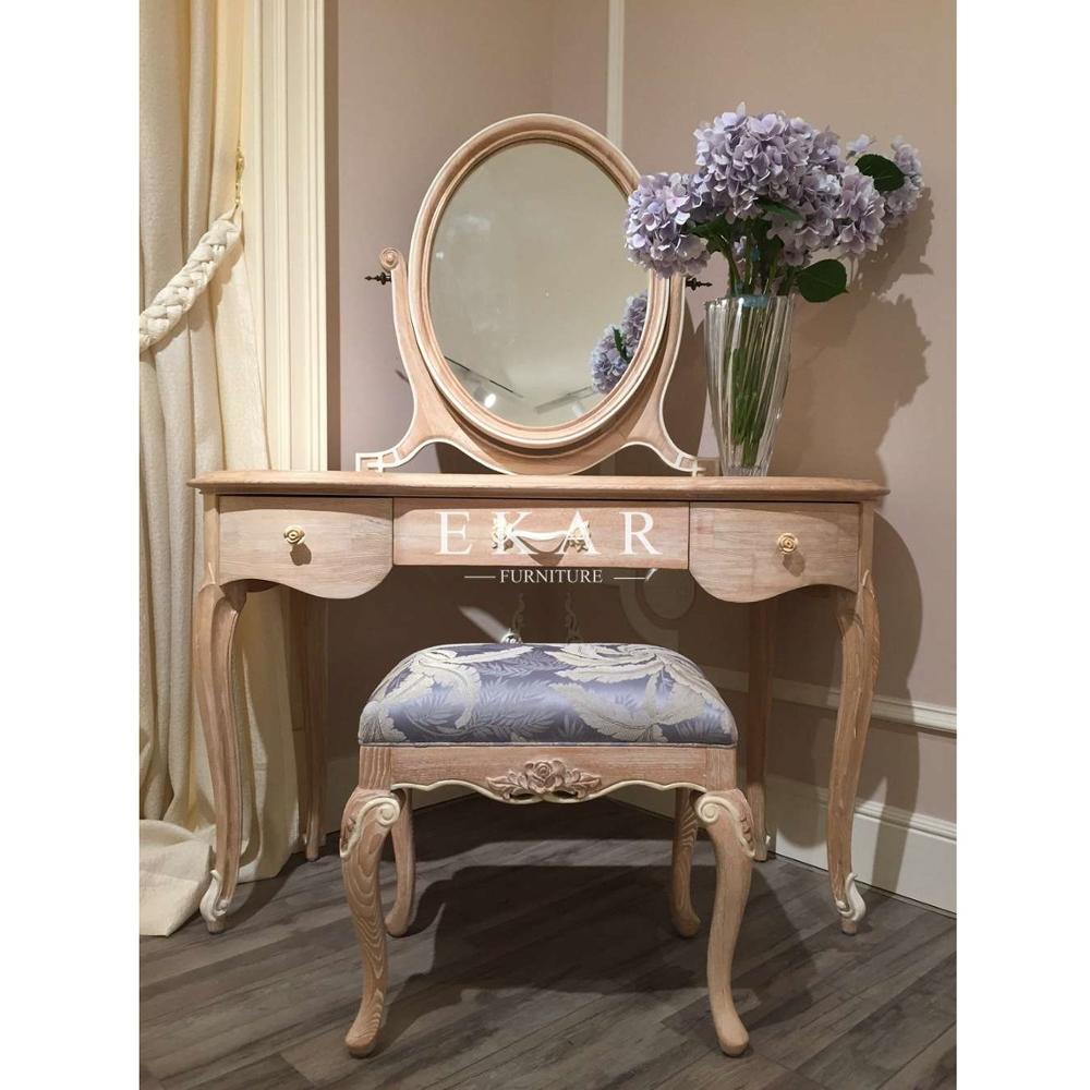คลาสสิกห้องนอนเฟอร์นิเจอร์ออกแบบโบราณแต่งตัวโต๊ะเครื่องแป้งที่มีกระจก