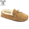 Soft leather sole woman sheepskin indoor slipper