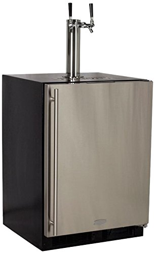 """Marvel ML24BTS2RS Twin Tap Built-In Beer Dispenser with Right Side Hinge, 24"""", Stainless Steel"""
