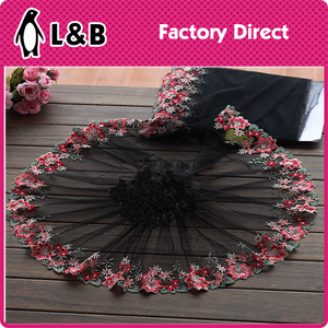 wholesale lace trim black tulle red embroidery wedding fabric