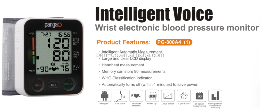 wrist watch blood pressure monitor meter with CE , ESH , BHS , FDA
