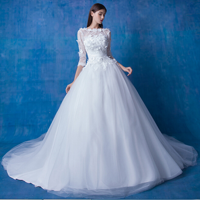 OEM Custom Made 2016 Real Photo A Line 3/4 Sleeve Fowers Low Back Bridal Wedding Gowns