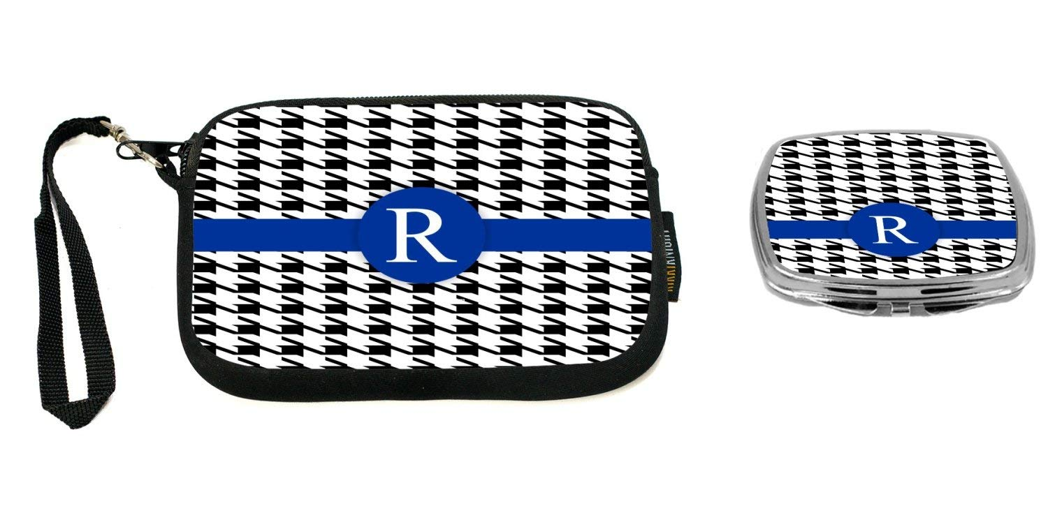 """Rikki Knight Letter""""R"""" Blue Houndstooth Monogram Design Neoprene Clutch Wristlet with Matching Square Compact Mirror"""