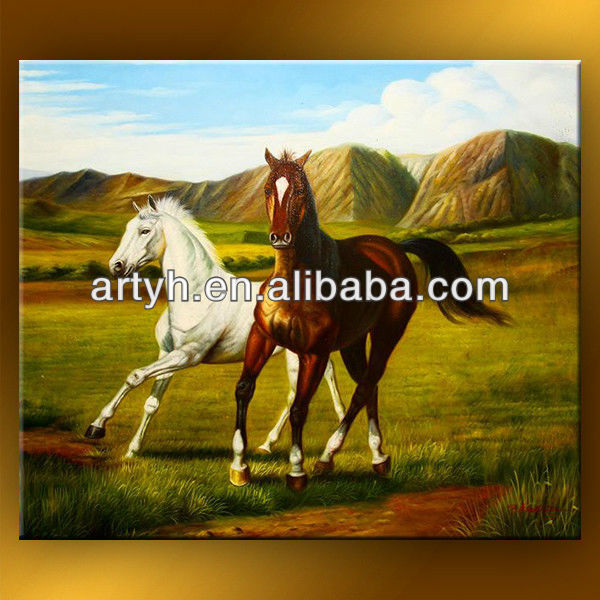 Latest designs brown and white horses artistic abstract painting for famous art